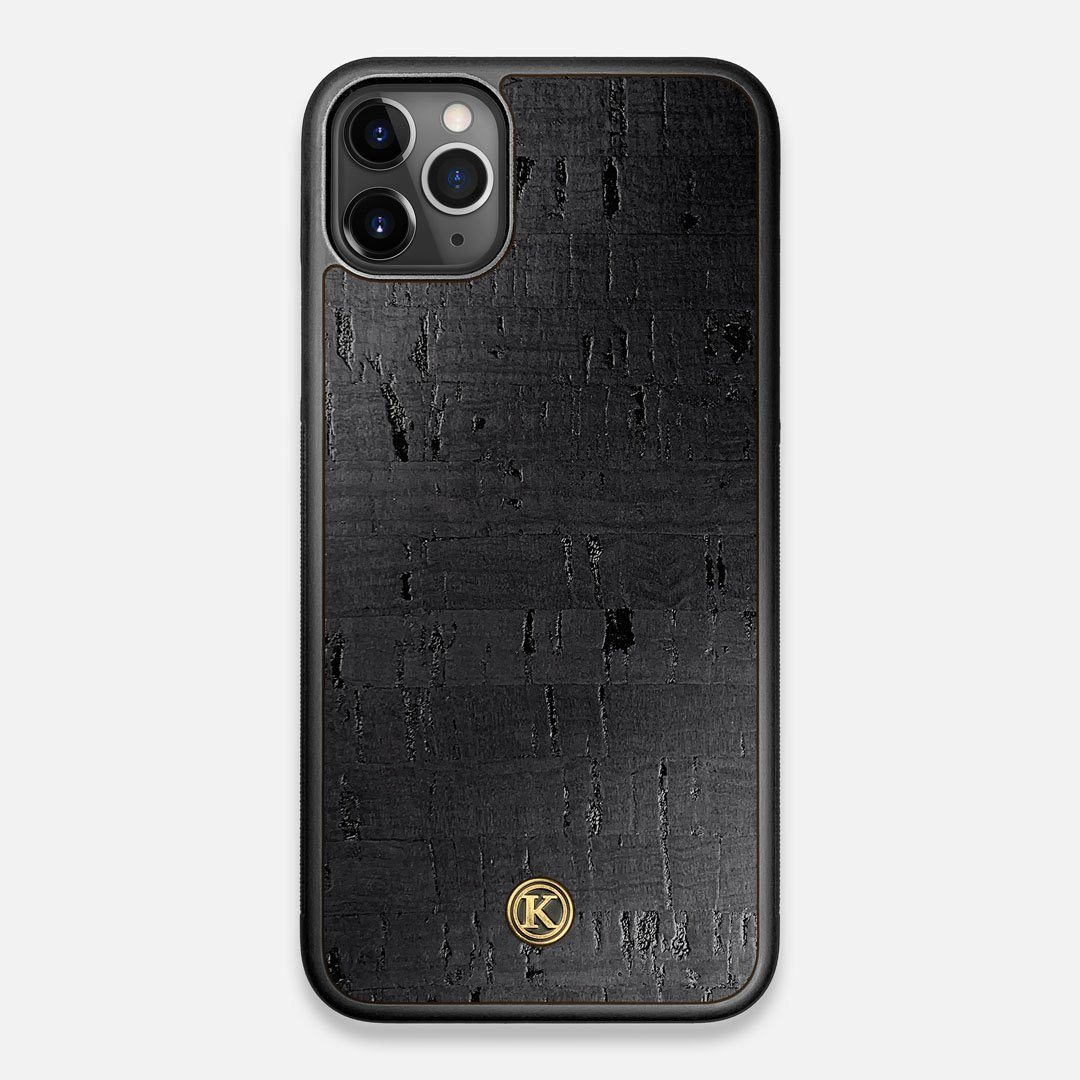 Front view of the dyed black natural cork iPhone 11 Pro Max Case by Keyway Designs