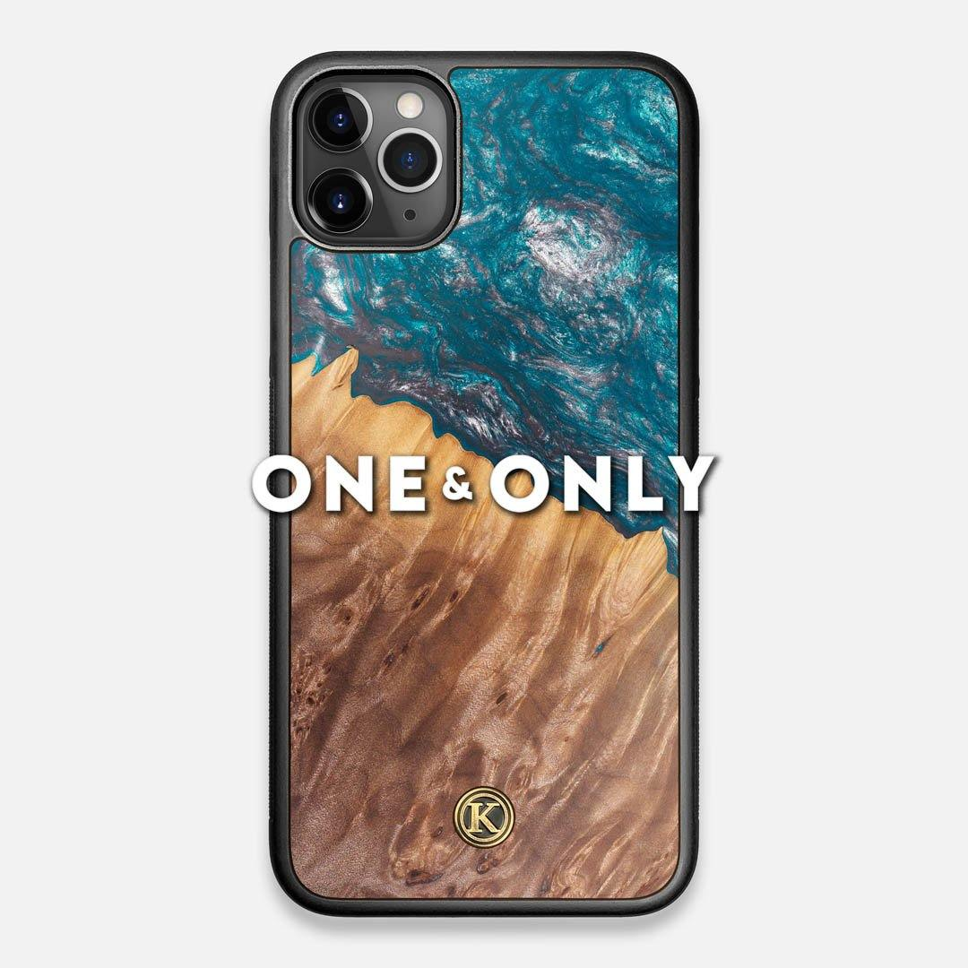 Front view of the One and Only Wood and Resin iPhone 11 Pro Max Case by Keyway Designs