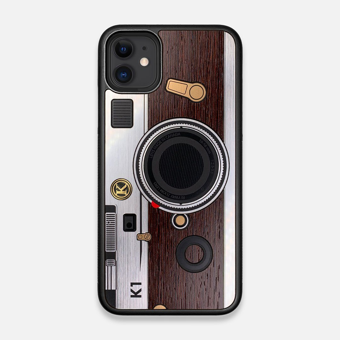 Front view of the classic Camera, silver metallic and wood iPhone 11 Case by Keyway Designs