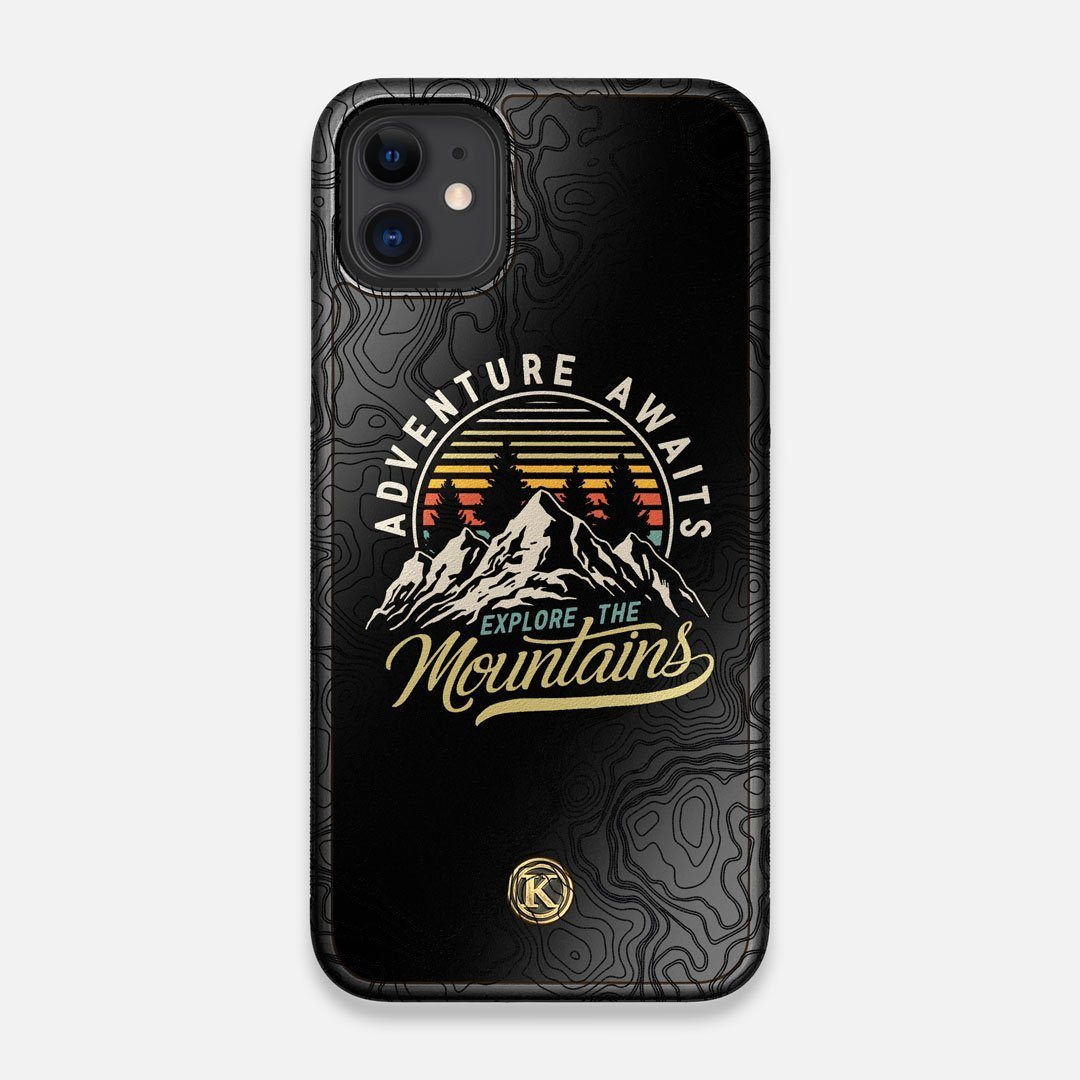 Front view of the crisp topographical map with Explorer badge printed on matte black impact acrylic iPhone 11 Case by Keyway Designs