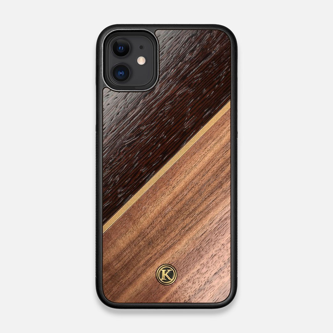 Front view of the Alium Walnut, Gold, and Wenge Elegant Wood iPhone 11 Case by Keyway Designs