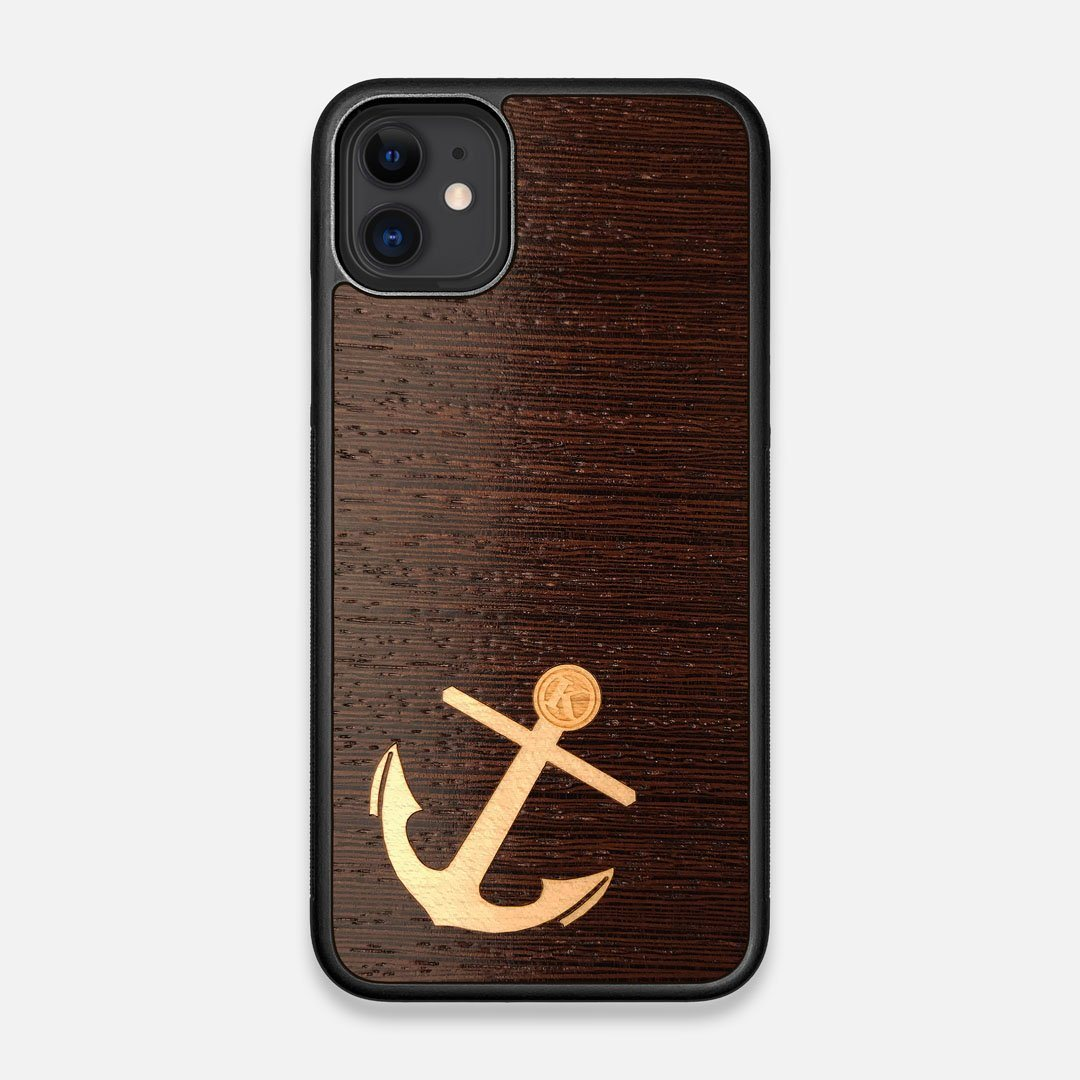 Front view of the Anchor Wenge Wood iPhone 11 Case by Keyway Designs