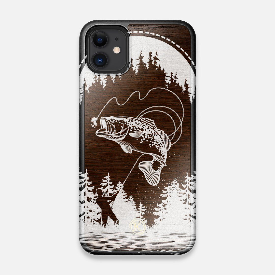 Front view of the high-contrast spotted bass printed Wenge Wood iPhone 11 Case by Keyway Designs