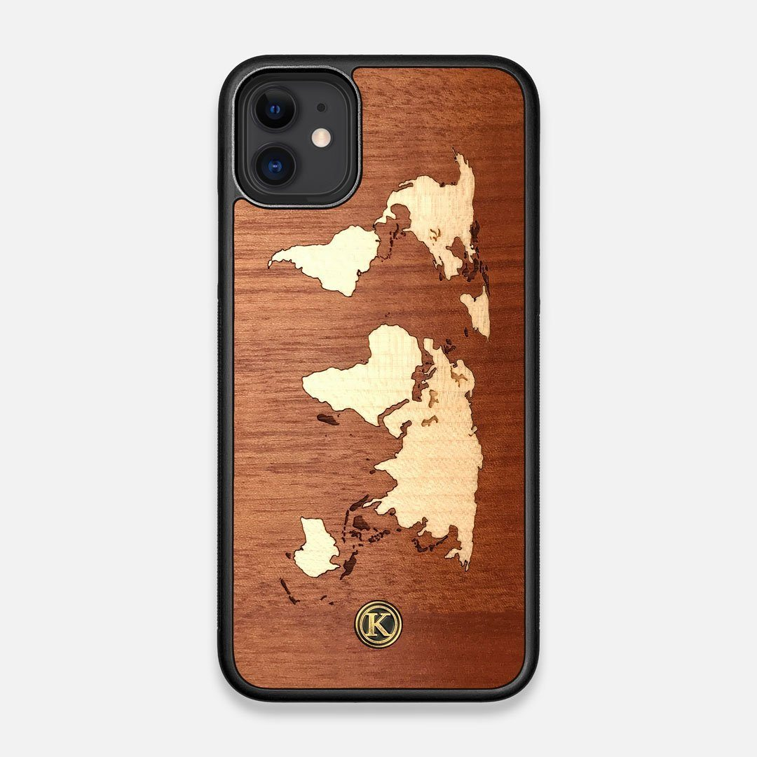 Front view of the Atlas Sapele Wood iPhone 11 Case by Keyway Designs