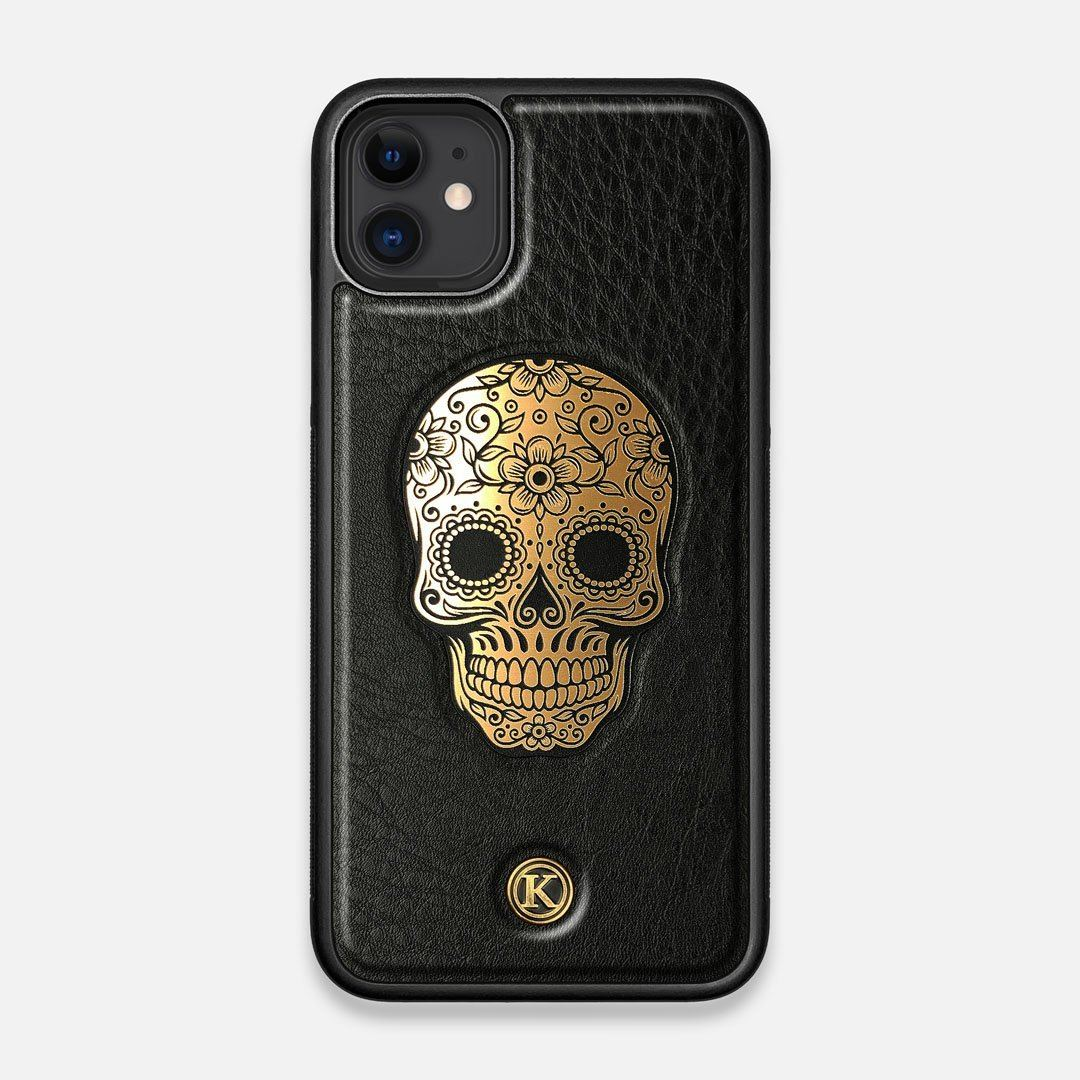 Front view of the Auric Black Leather iPhone 11 Case by Keyway Designs