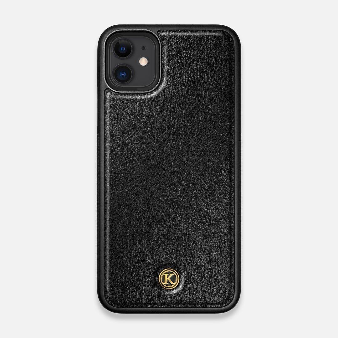 Front view of the Blank Black Leather iPhone 11 Case by Keyway Designs