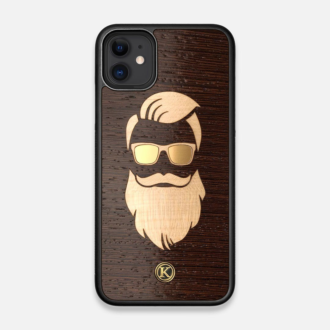 Front view of the The Blonde Beard Wenge Wood iPhone 11 Case by Keyway Designs