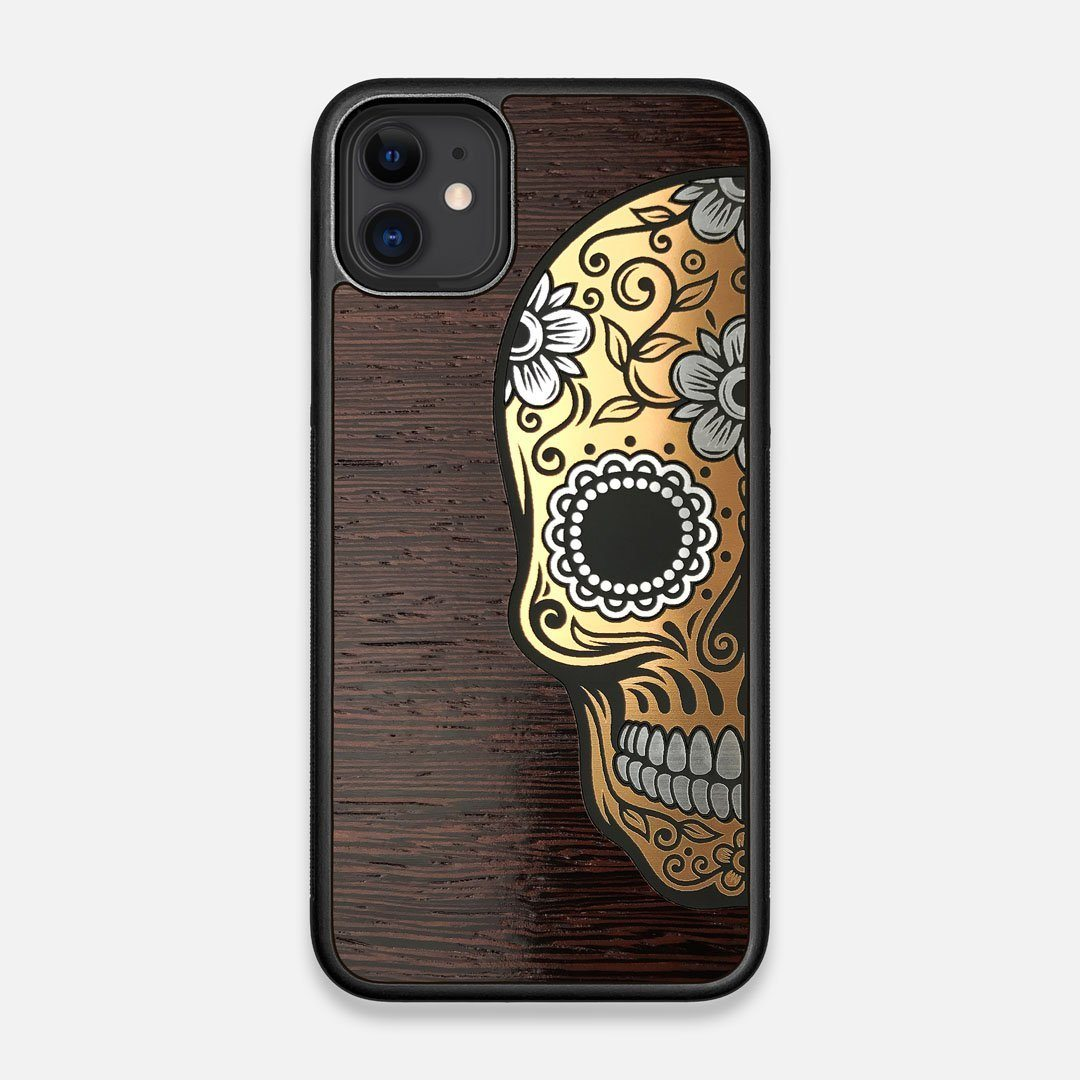 Front view of the Calavera Wood Sugar Skull Wood iPhone 11 Case by Keyway Designs