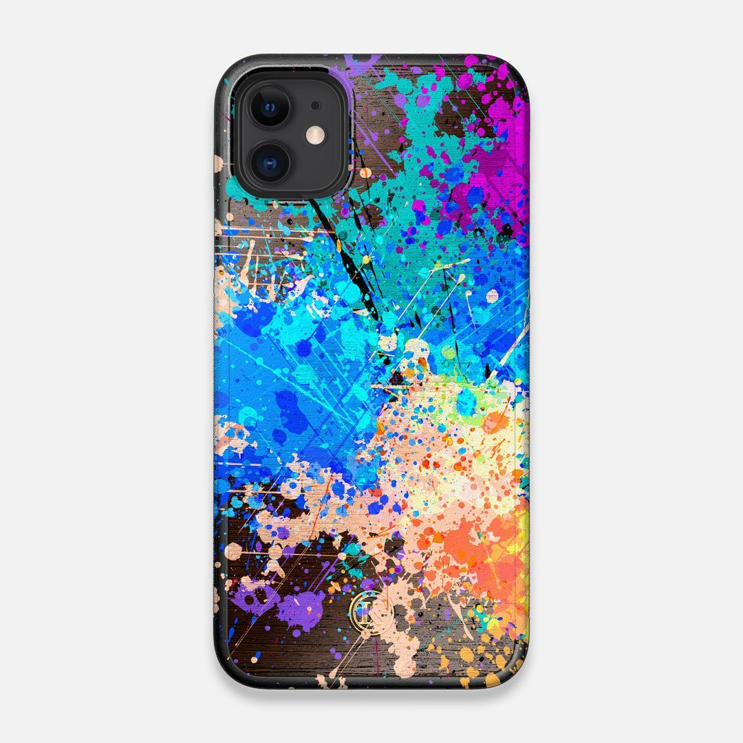 Front view of the realistic paint splatter 'Chroma' printed Wenge Wood iPhone 11 Case by Keyway Designs