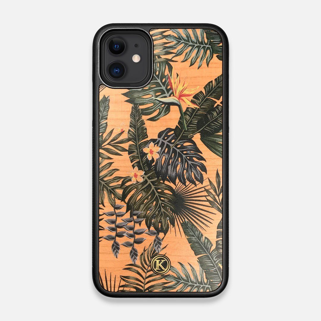 Front view of the Floral tropical leaf printed Cherry Wood iPhone 11 Case by Keyway Designs