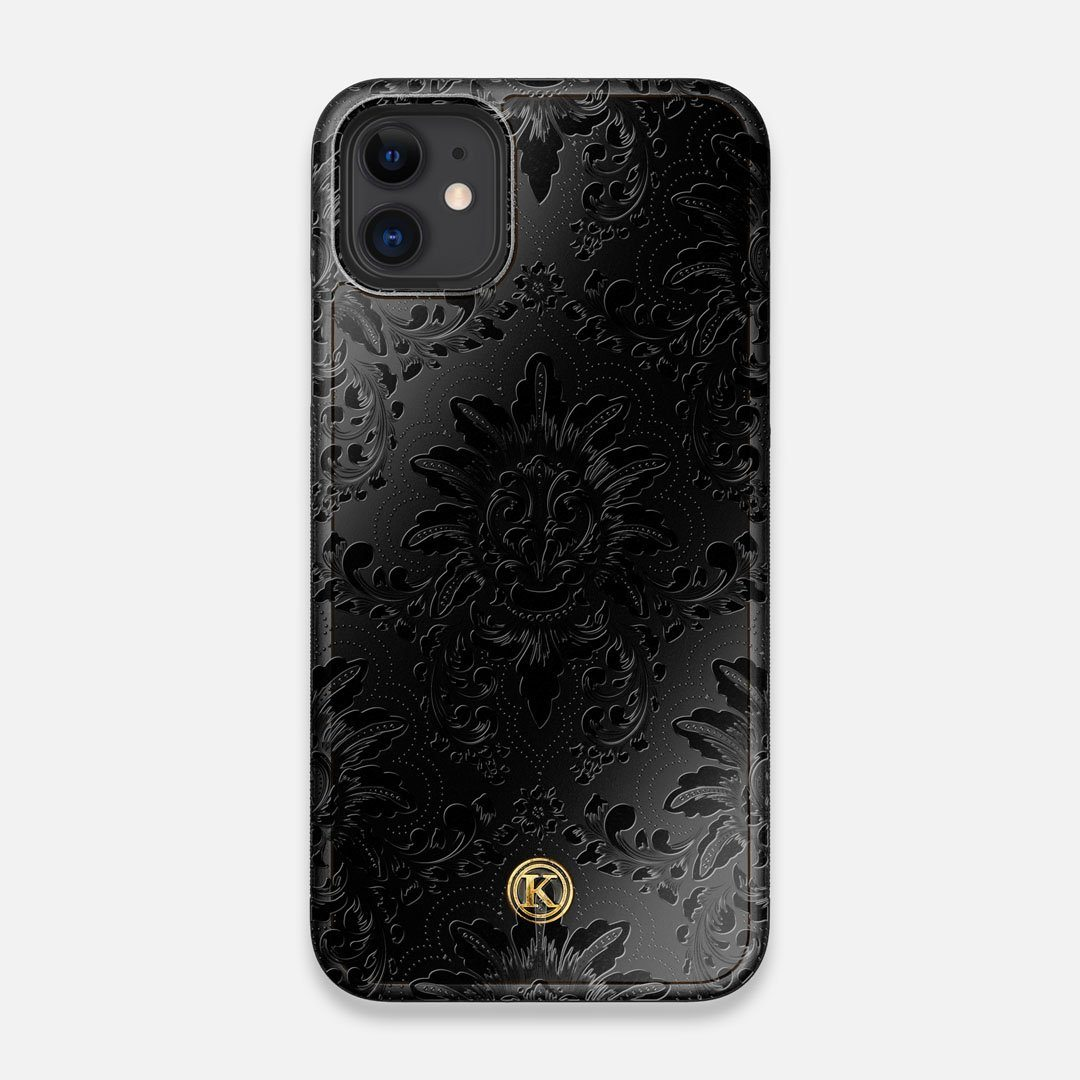 Front view of the detailed gloss Damask pattern printed on matte black impact acrylic iPhone 11 Case by Keyway Designs