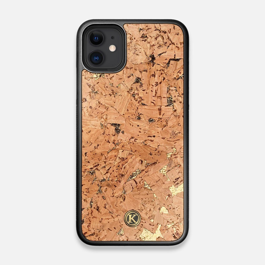Front view of the gold fleck natural cork iPhone 11 Case by Keyway Designs
