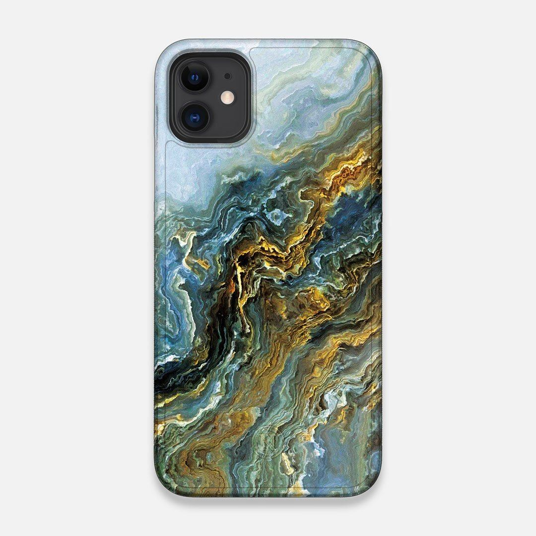 Front view of the vibrant and rich Blue & Gold flowing marble pattern printed Wenge Wood iPhone 11 Case by Keyway Designs