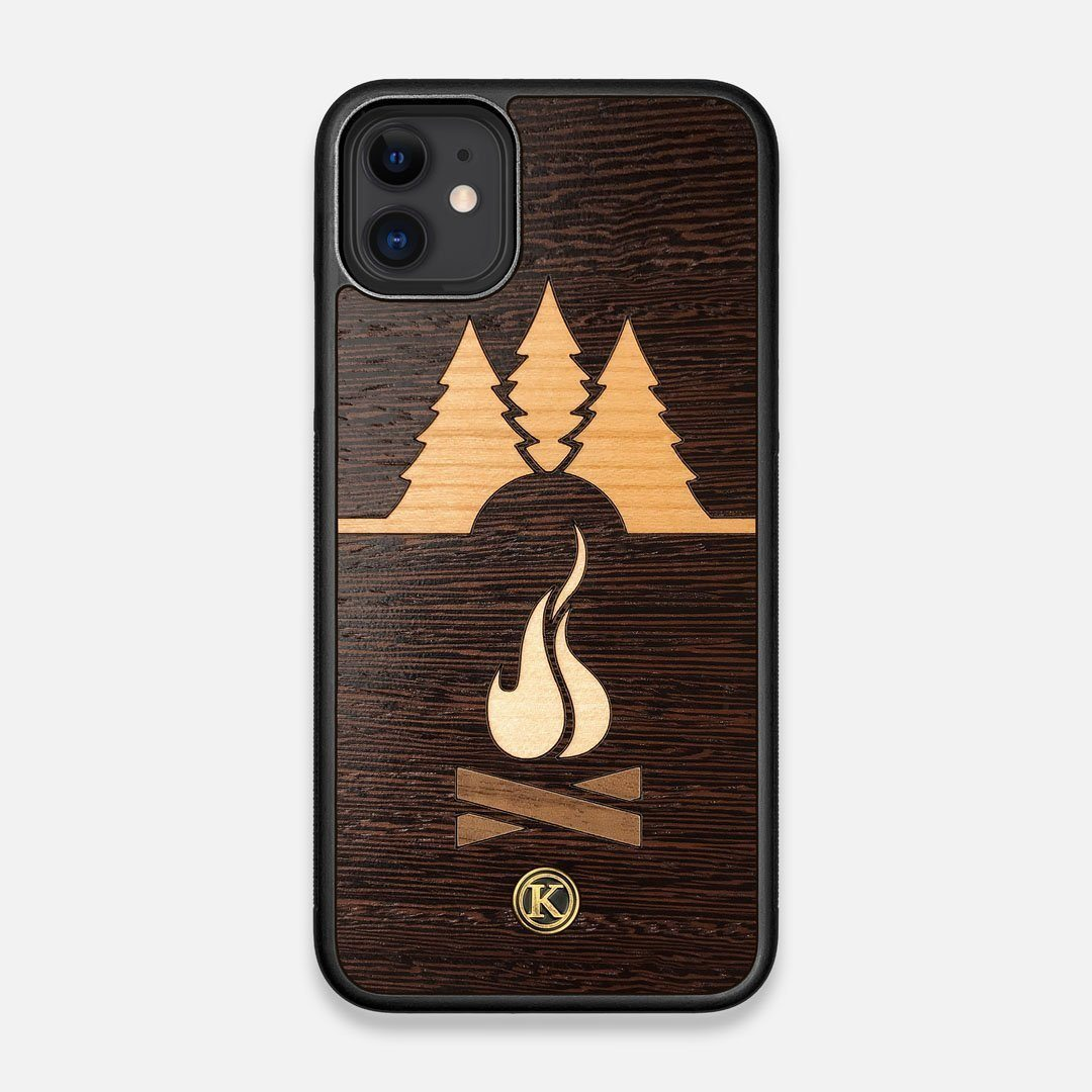 Front view of the Nomad Campsite Wood iPhone 11 Case by Keyway Designs