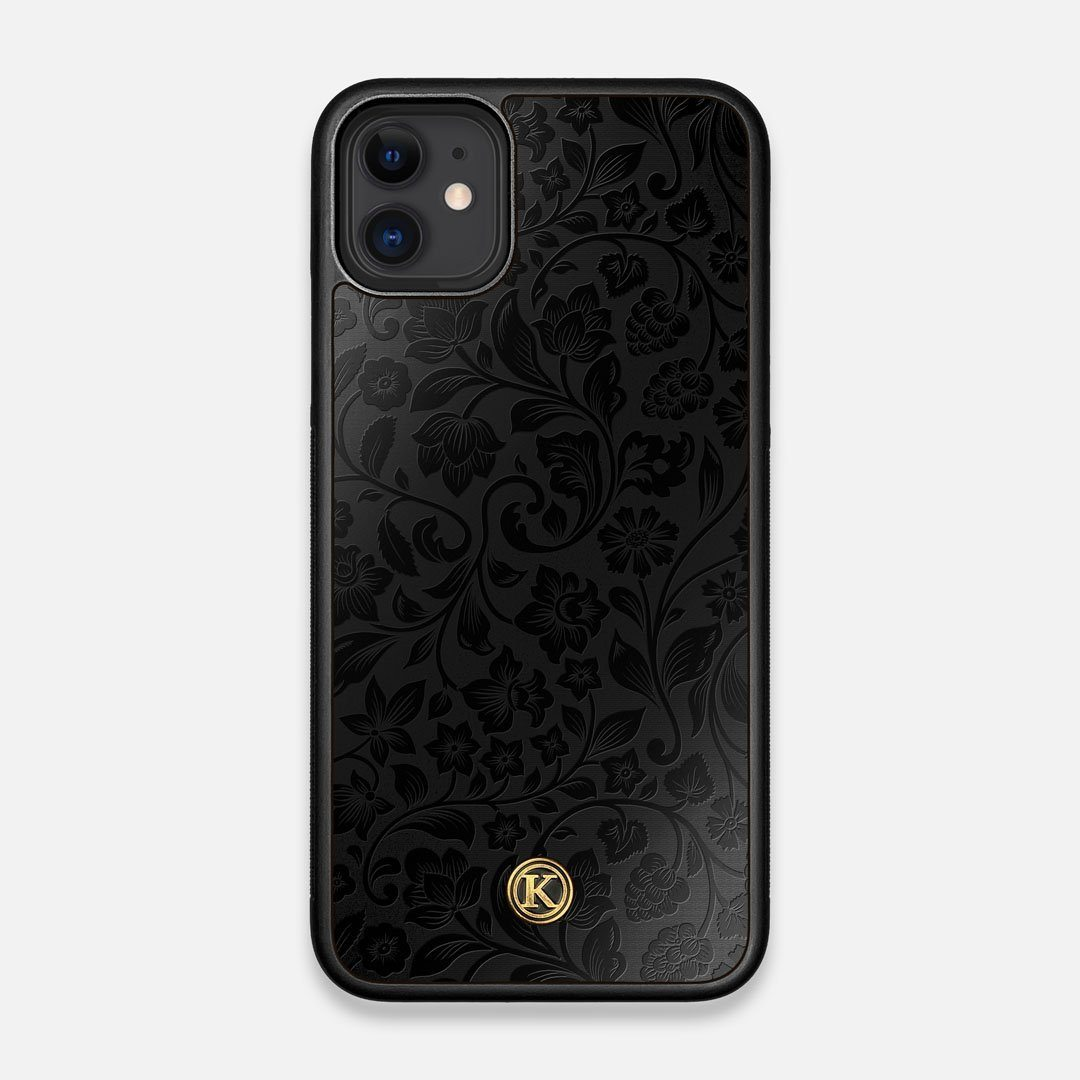 Front view of the highly detailed midnight floral engraving on matte black impact acrylic iPhone 11 Case by Keyway Designs