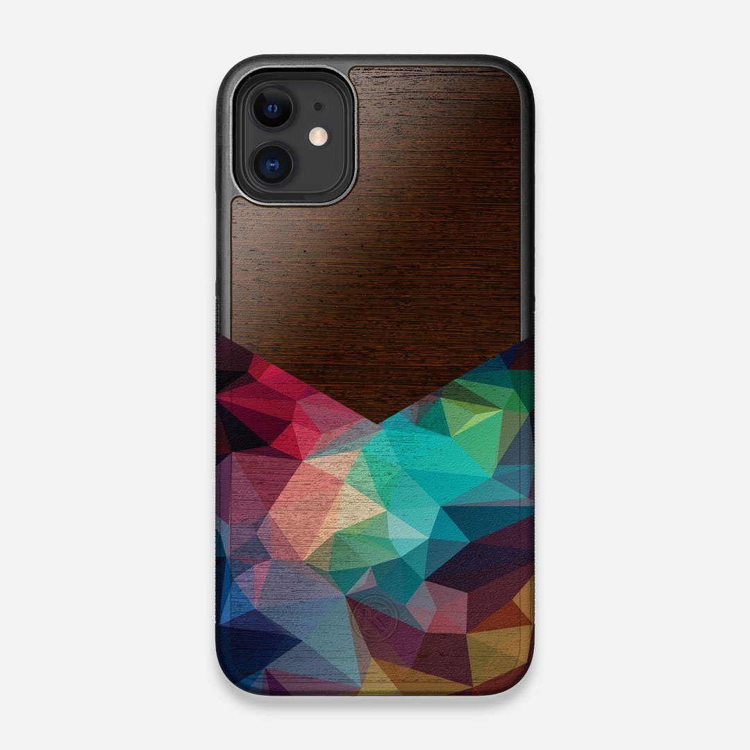 Front view of the vibrant Geometric Gradient printed Wenge Wood iPhone 11 Case by Keyway Designs