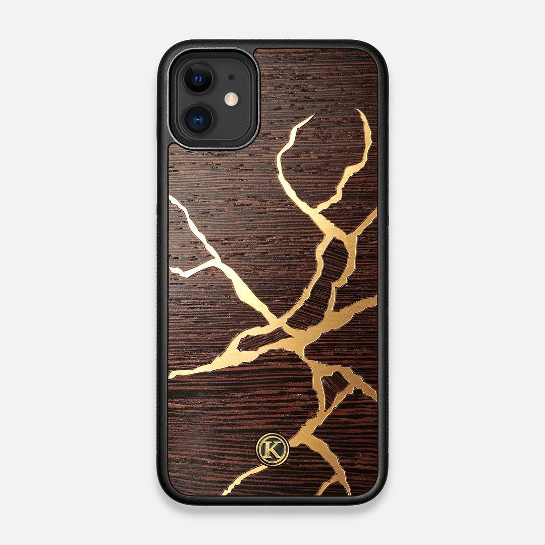 Front view of the Kintsugi inspired Gold and Wenge Wood iPhone 11 Case by Keyway Designs