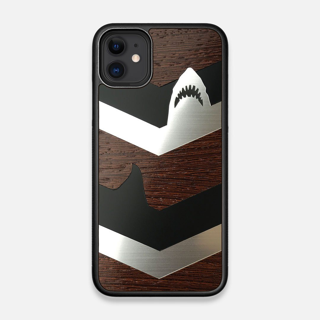 Front view of the Shark Chevron Dark By Parker Barrow Wenge Wood iPhone 11 Case by Keyway Designs