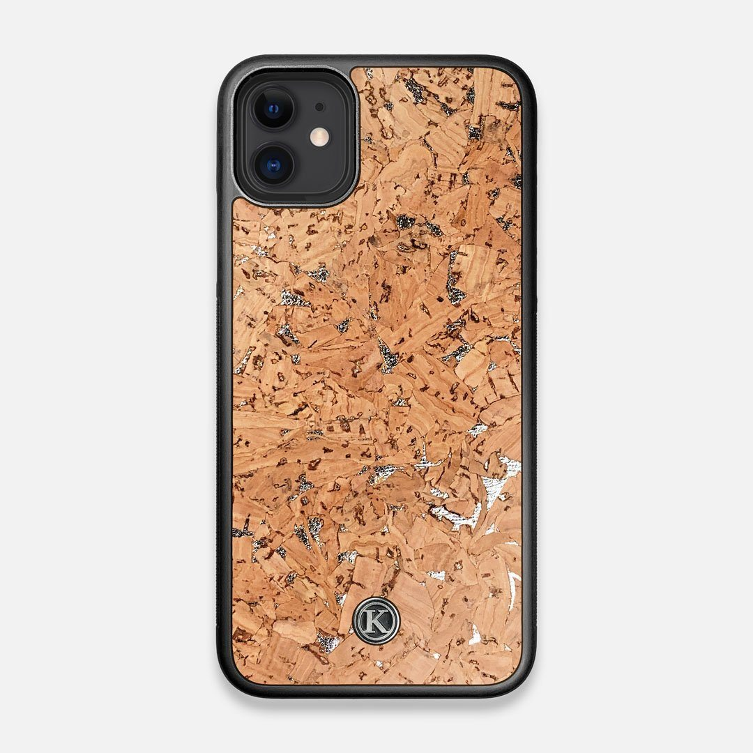 Front view of the silver fleck natural cork iPhone 11 Case by Keyway Designs