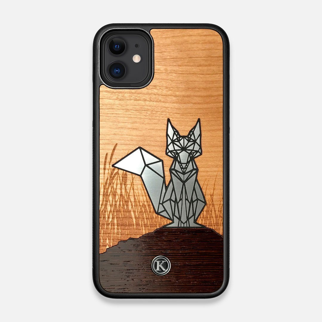 Front view of the Silver Fox & Cherry Wood iPhone 11 Case by Keyway Designs