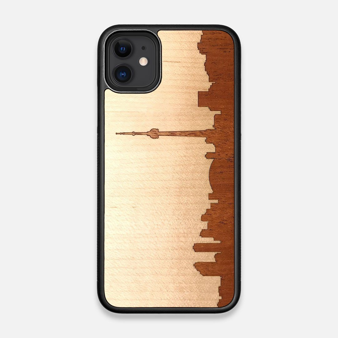 Front view of the Toro By Orozco Design Wenge Wood iPhone 11 Case by Keyway Designs