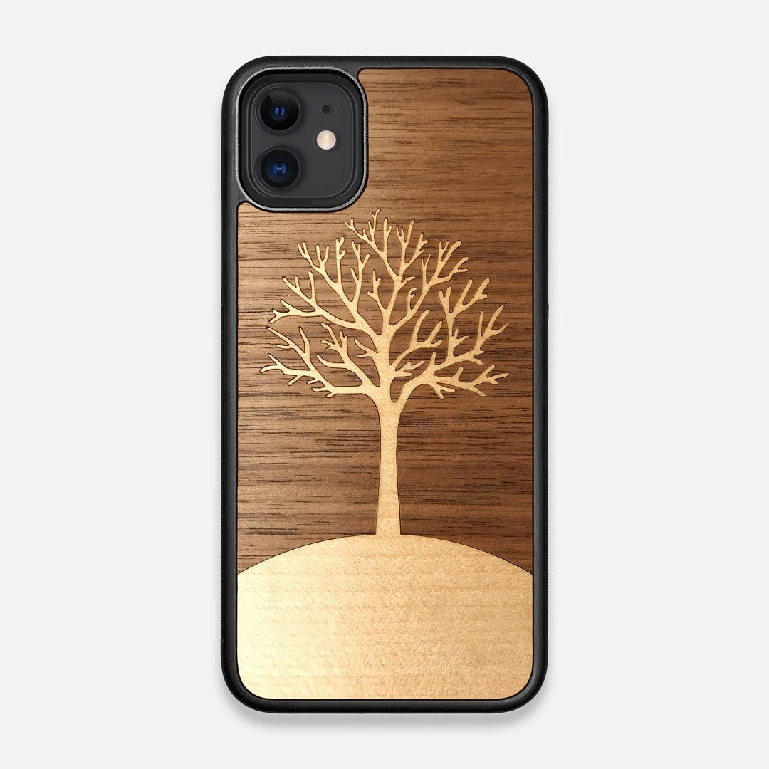 Front view of the Tree Of Life Walnut Wood iPhone 11 Case by Keyway Designs