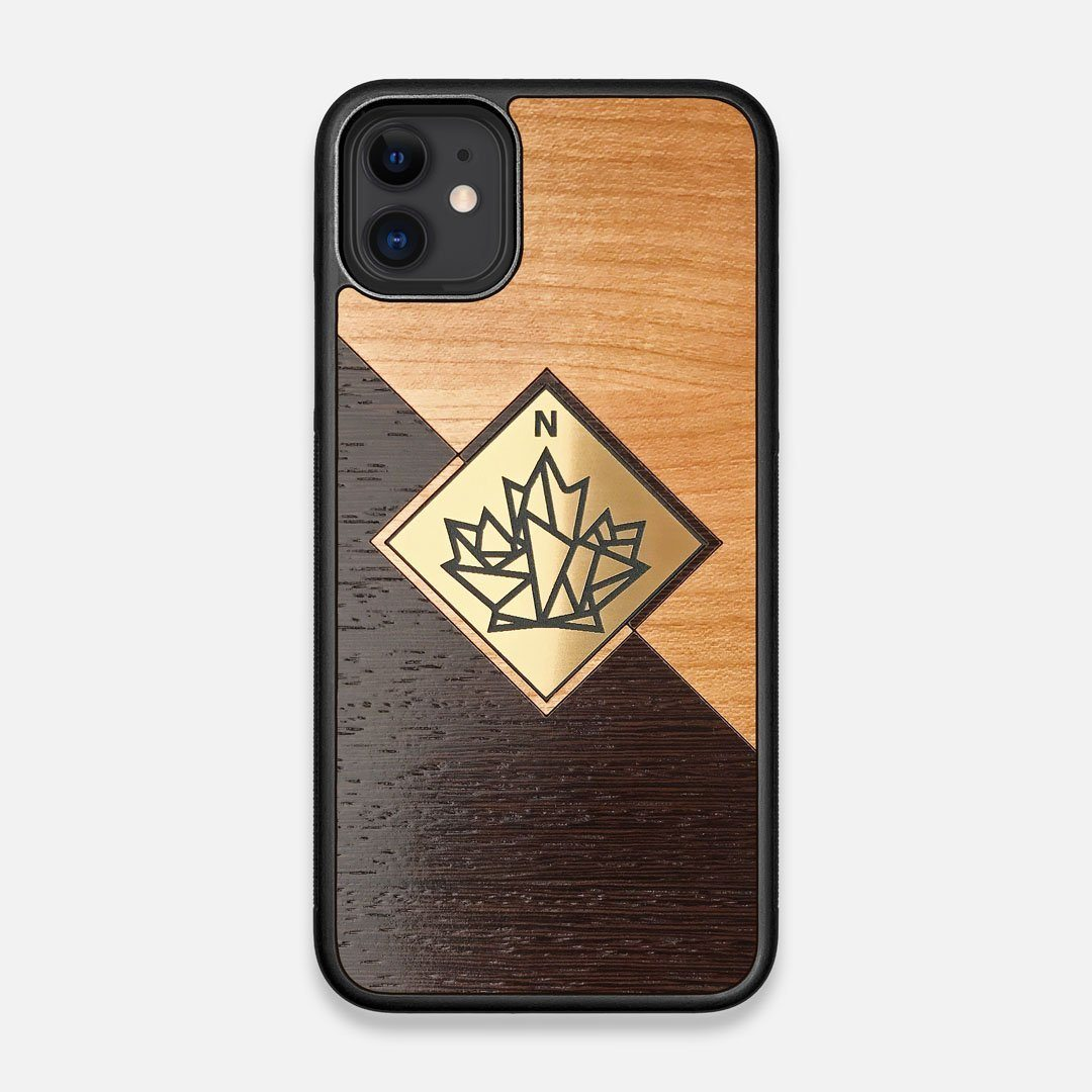 Front view of the True North by Northern Philosophy Cherry & Wenge Wood iPhone 11 Case by Keyway Designs
