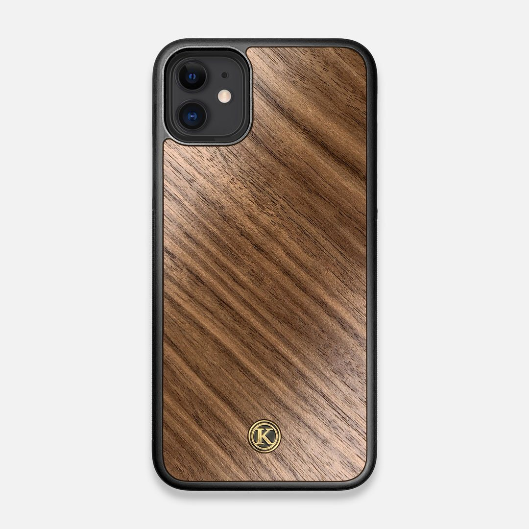 Front view of the Walnut Pure Minimalist Wood iPhone 11 Case by Keyway Designs