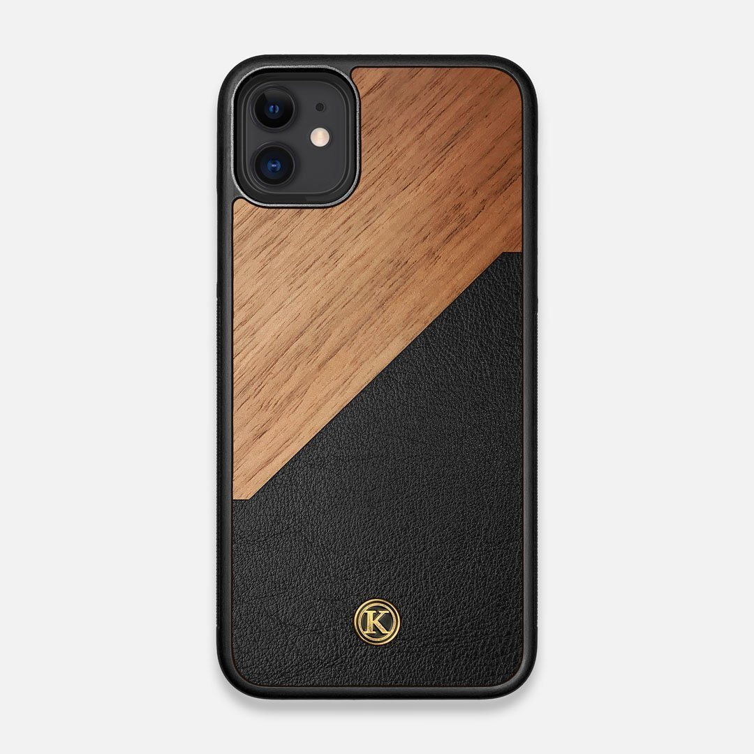 Front view of the Walnut Rift Elegant Wood & Leather iPhone 11 Case by Keyway Designs