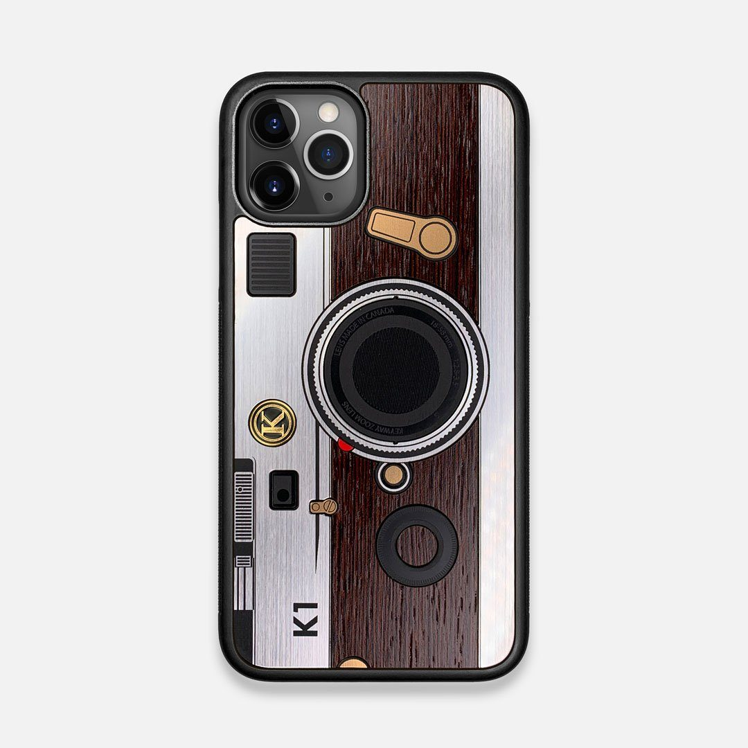 Front view of the classic Camera, silver metallic and wood iPhone 11 Pro Case by Keyway Designs