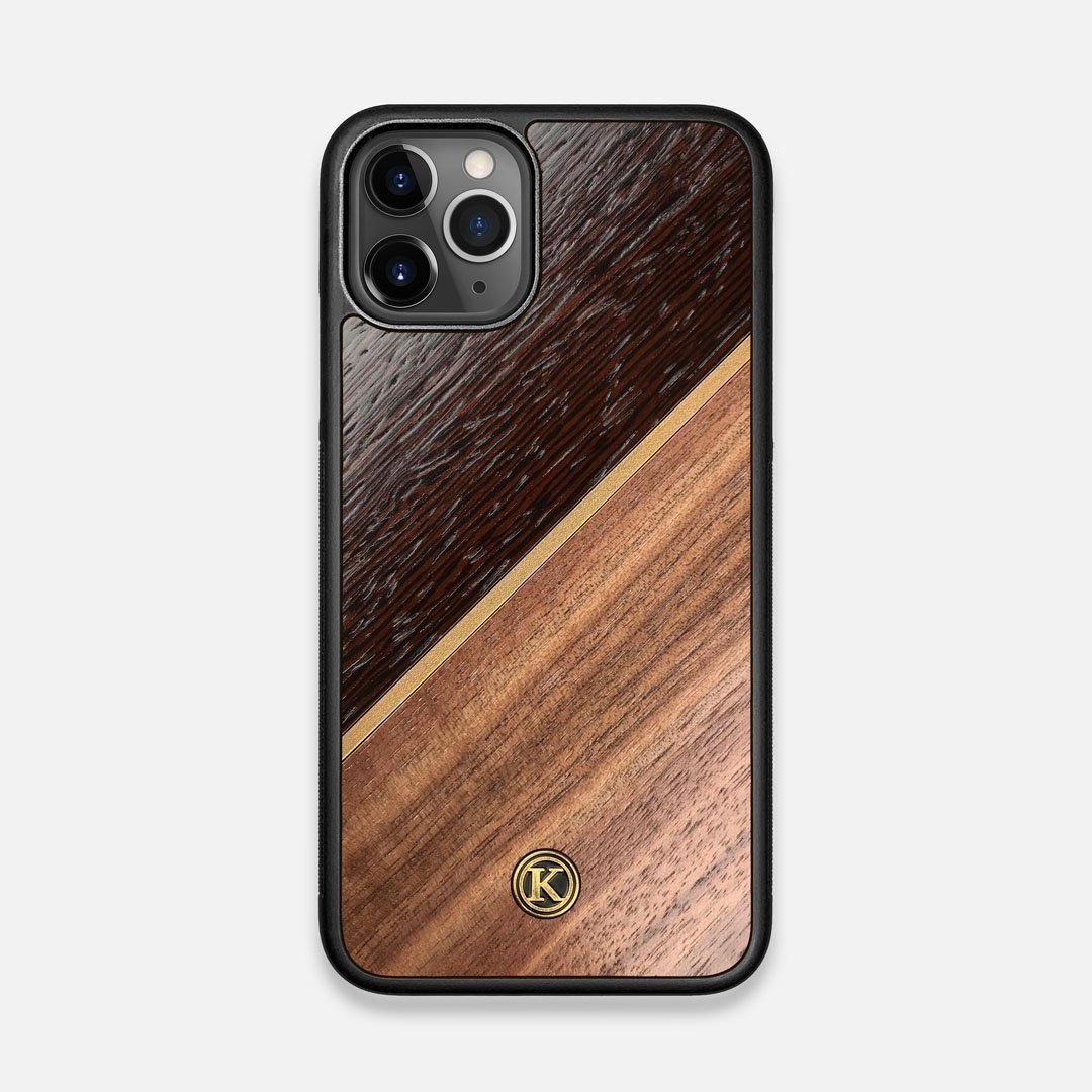 Front view of the Alium Walnut, Gold, and Wenge Elegant Wood iPhone 11 Pro Case by Keyway Designs