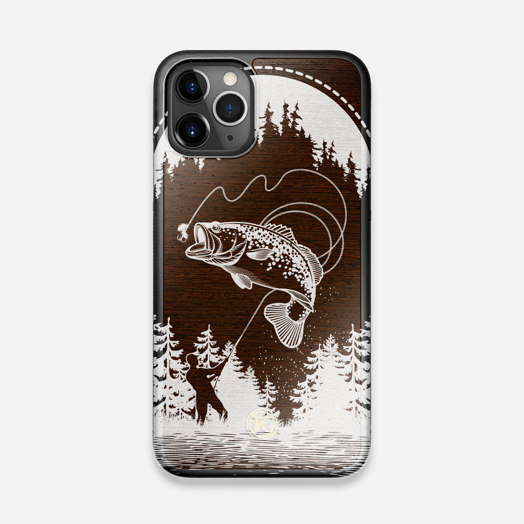 Front view of the high-contrast spotted bass printed Wenge Wood iPhone 11 Pro Case by Keyway Designs