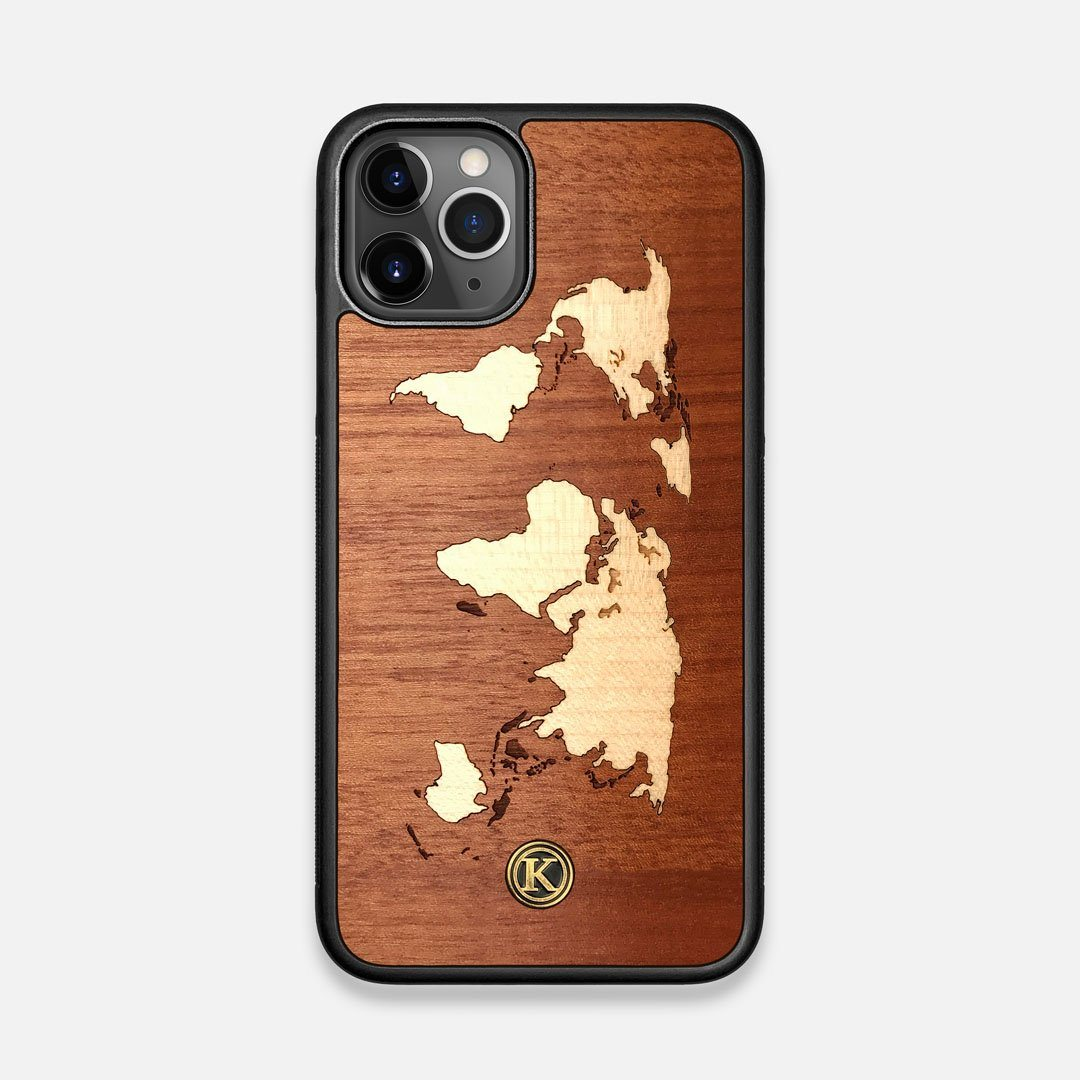 Front view of the Atlas Sapele Wood iPhone 11 Pro Case by Keyway Designs