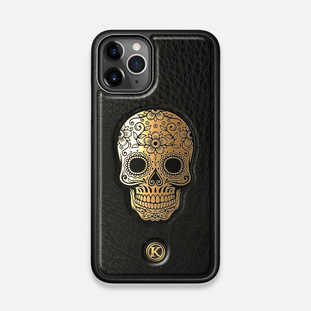 Front view of the Auric Black Leather iPhone 11 Pro Case by Keyway Designs