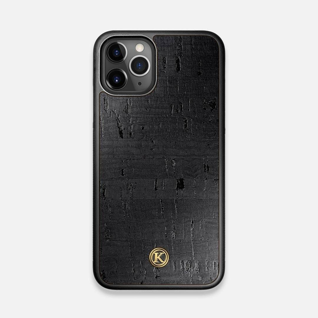 Front view of the dyed black natural cork iPhone 11 Pro Case by Keyway Designs
