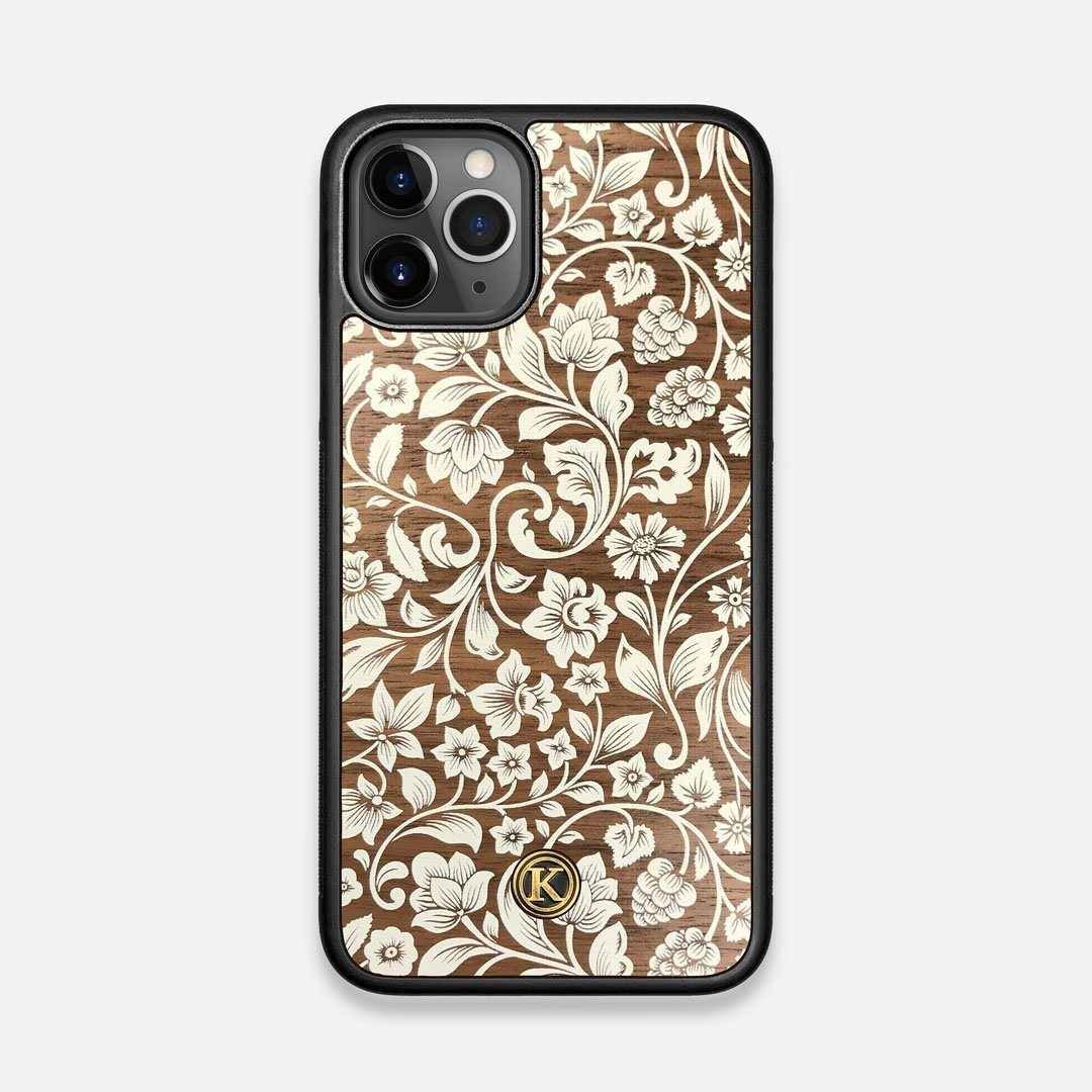 Front view of the Blossom Whitewash Wood iPhone 11 Pro Case by Keyway Designs