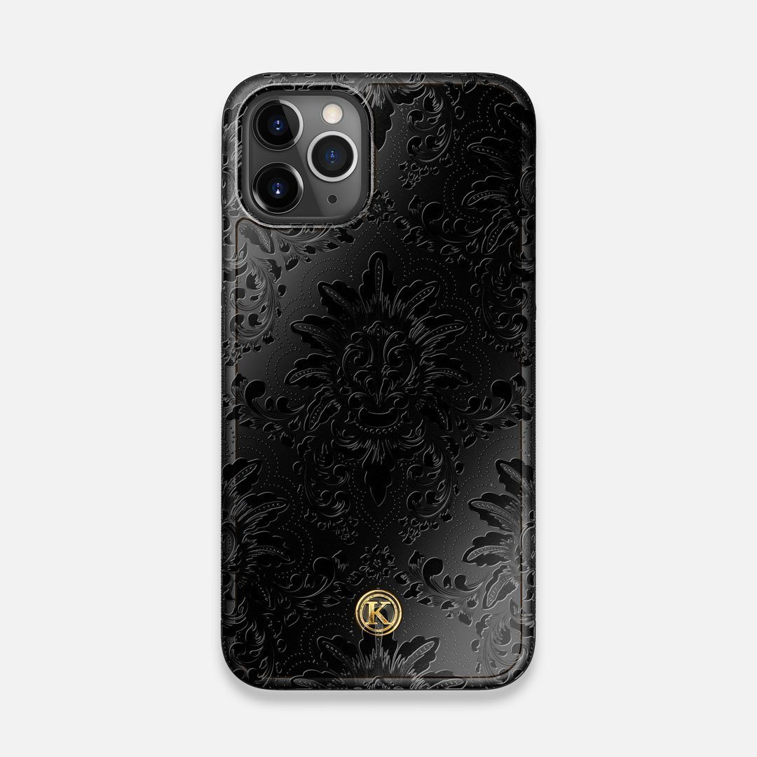 Front view of the detailed gloss Damask pattern printed on matte black impact acrylic iPhone 11 Pro Case by Keyway Designs