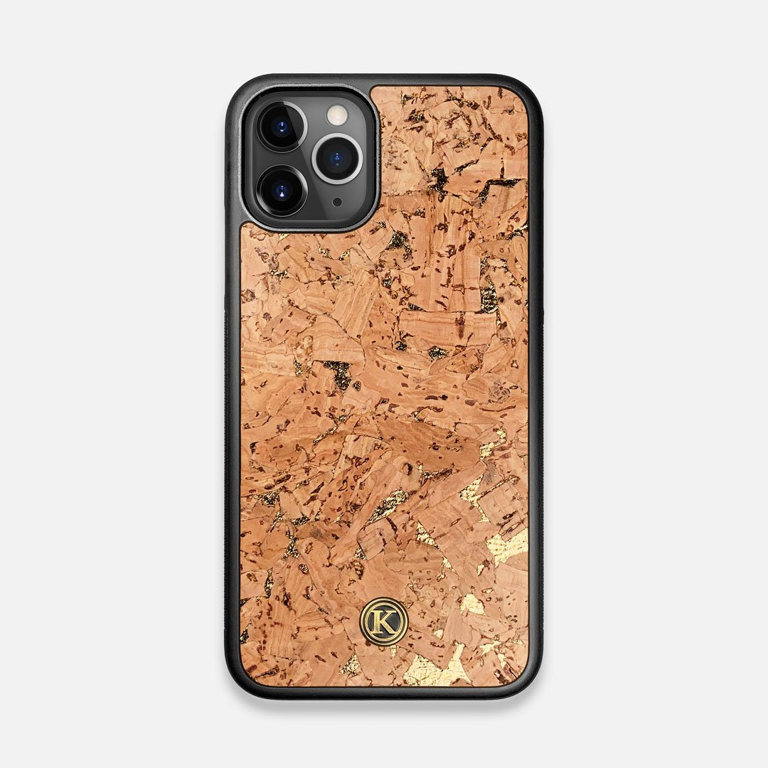 Front view of the gold fleck natural cork iPhone 11 Pro Case by Keyway Designs
