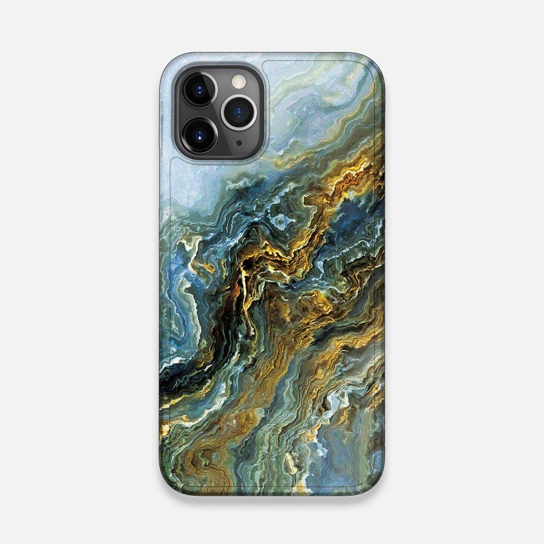Front view of the vibrant and rich Blue & Gold flowing marble pattern printed Wenge Wood iPhone 11 Pro Case by Keyway Designs