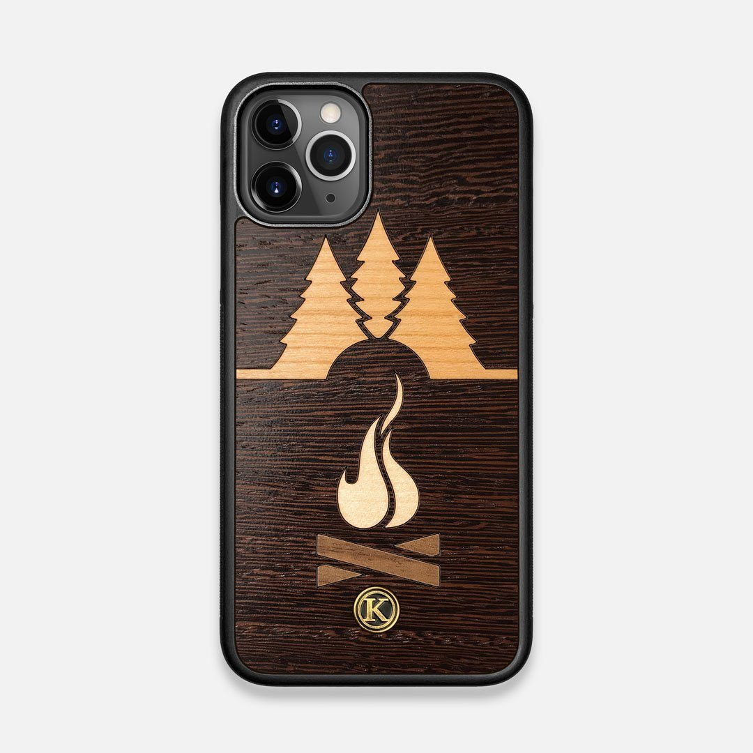 Front view of the Nomad Campsite Wood iPhone 11 Pro Case by Keyway Designs
