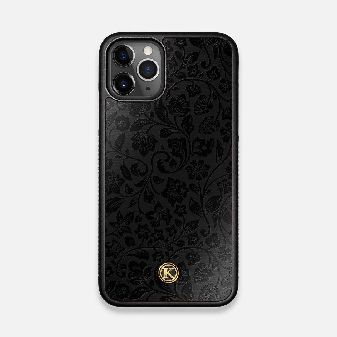 Front view of the highly detailed midnight floral engraving on matte black impact acrylic iPhone 11 Pro Case by Keyway Designs
