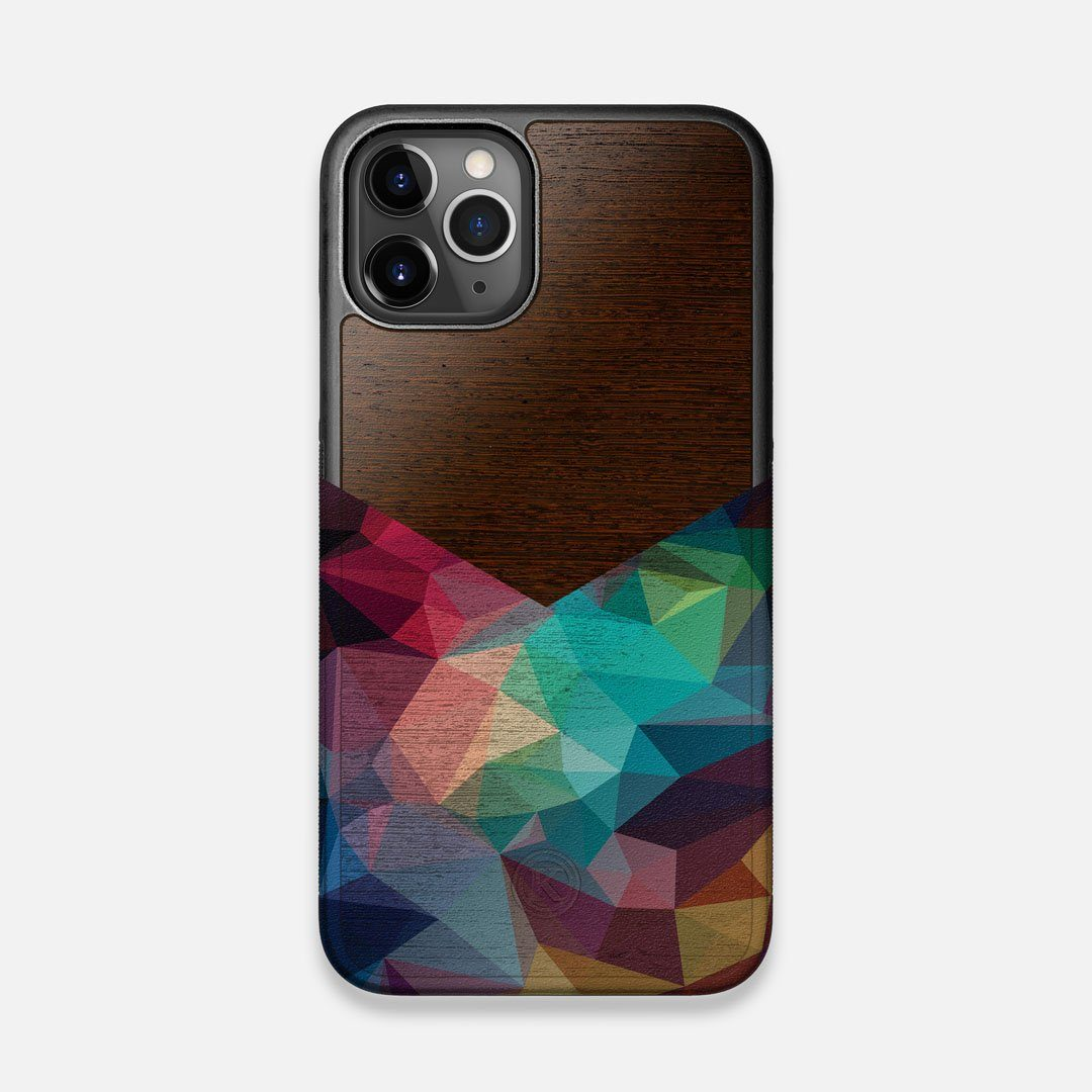 Front view of the vibrant Geometric Gradient printed Wenge Wood iPhone 11 Pro Case by Keyway Designs