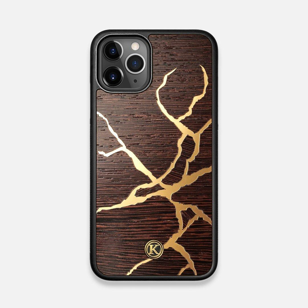 Front view of the Kintsugi inspired Gold and Wenge Wood iPhone 11 Pro Case by Keyway Designs