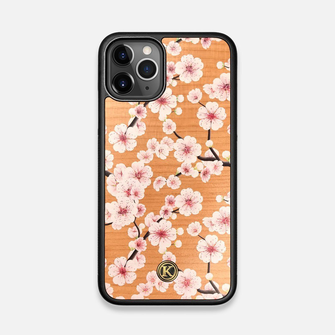 Front view of the Sakura Printed Cherry-blossom Cherry Wood iPhone 11 Pro Case by Keyway Designs