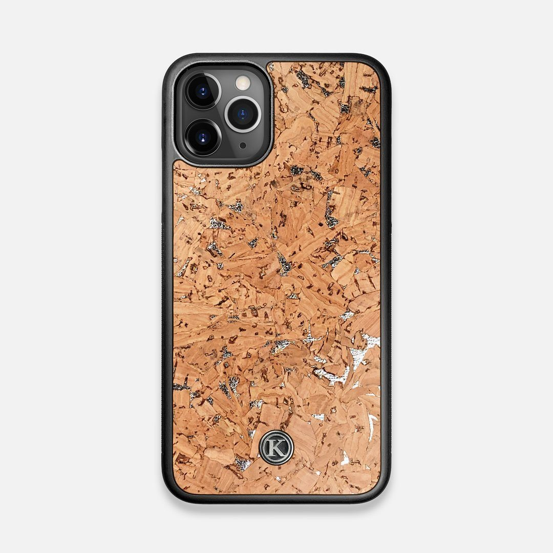 Front view of the silver fleck natural cork iPhone 11 Pro Case by Keyway Designs