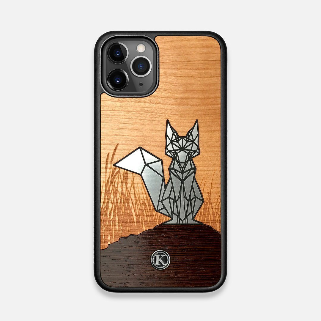 Front view of the Silver Fox & Cherry Wood iPhone 11 Pro Case by Keyway Designs