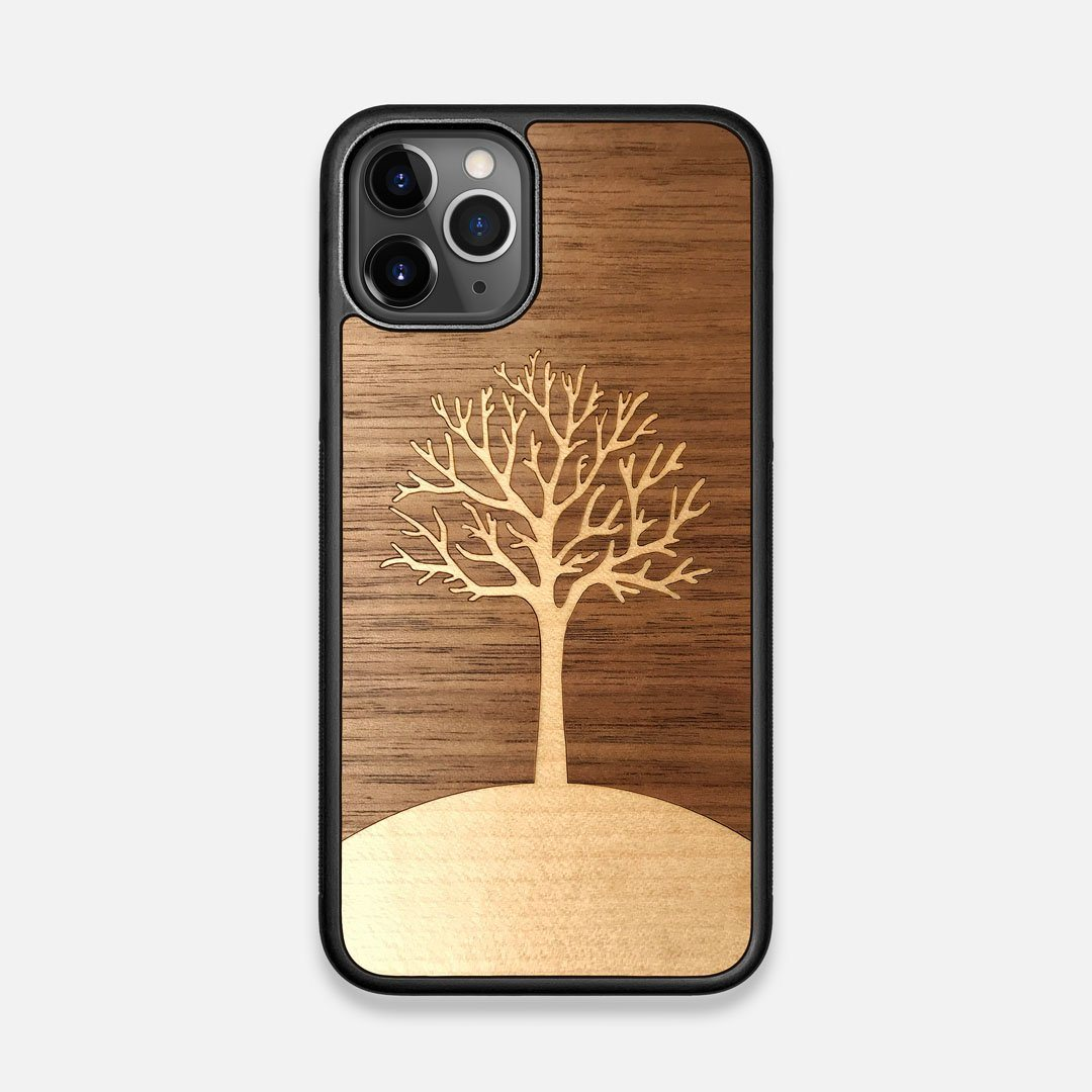 Front view of the Tree Of Life Walnut Wood iPhone 11 Pro Case by Keyway Designs