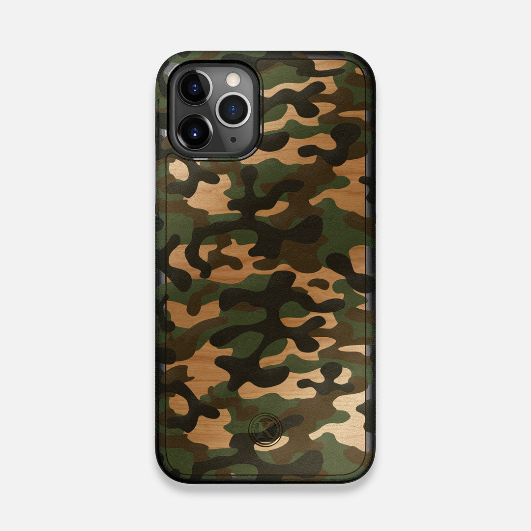 Front view of the stealth Paratrooper camo printed Wenge Wood iPhone 11 Pro Case by Keyway Designs