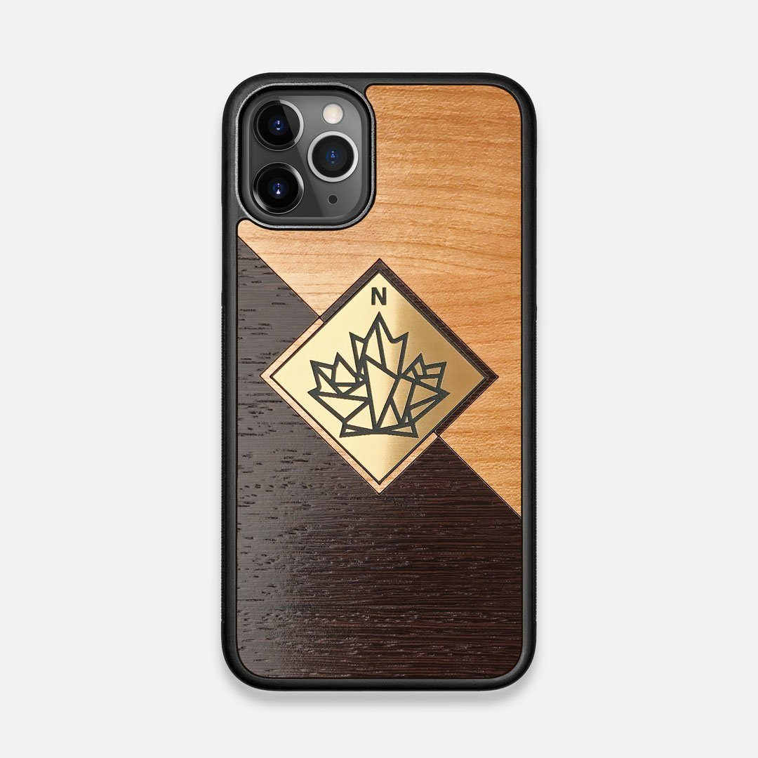 Front view of the True North by Northern Philosophy Cherry & Wenge Wood iPhone 11 Pro Case by Keyway Designs