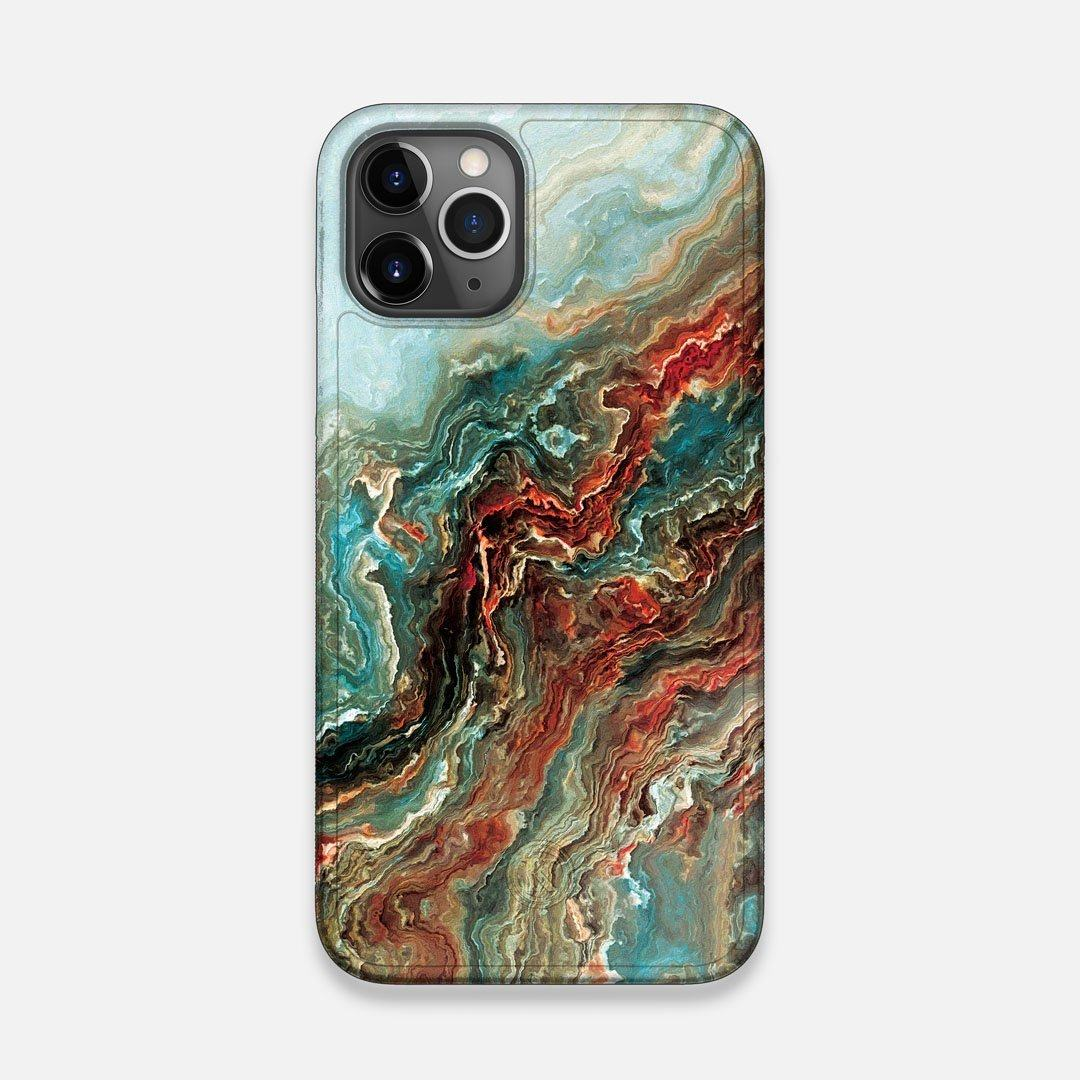 Front view of the vibrant and rich Red & Green flowing marble pattern printed Wenge Wood iPhone 11 Pro Case by Keyway Designs